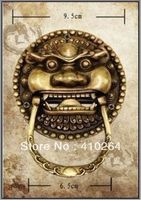 ] Shipping A Pair Large Chinese Bronze Foo Dog Foo Lion Door Knocker Statue