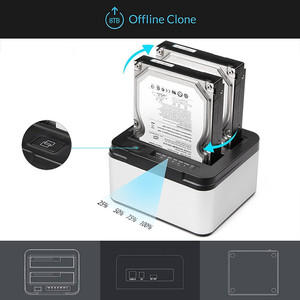 Image 4 - Aluminum Dual Bay USB 3.0 to SATA External Hard Drive Docking Station with Offline Clone Function for 2.5 Inch 3.5 Inch HDD SSD