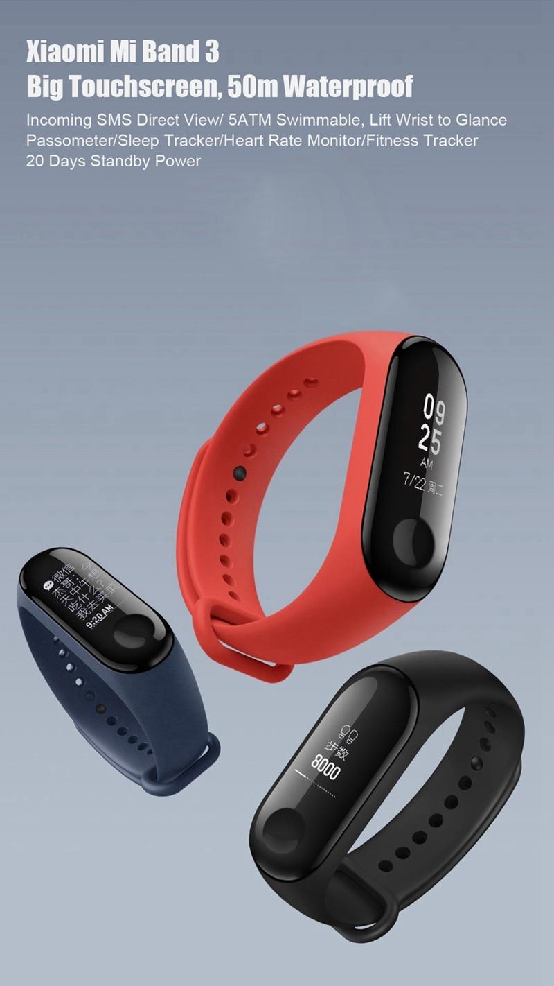 "Original Mi Band 3 Fitness Tracker Smart Bracelet 0.78""Color Screen 5ATM Waterproof Heart Rate Monitor Global Smartband In Stock 34"