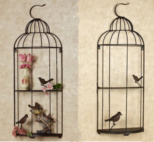 Fer forgé oiseau Cage tentures murales décoration murale salon décoratif fleur Stand décoratif oiseau Cage mur décor métal