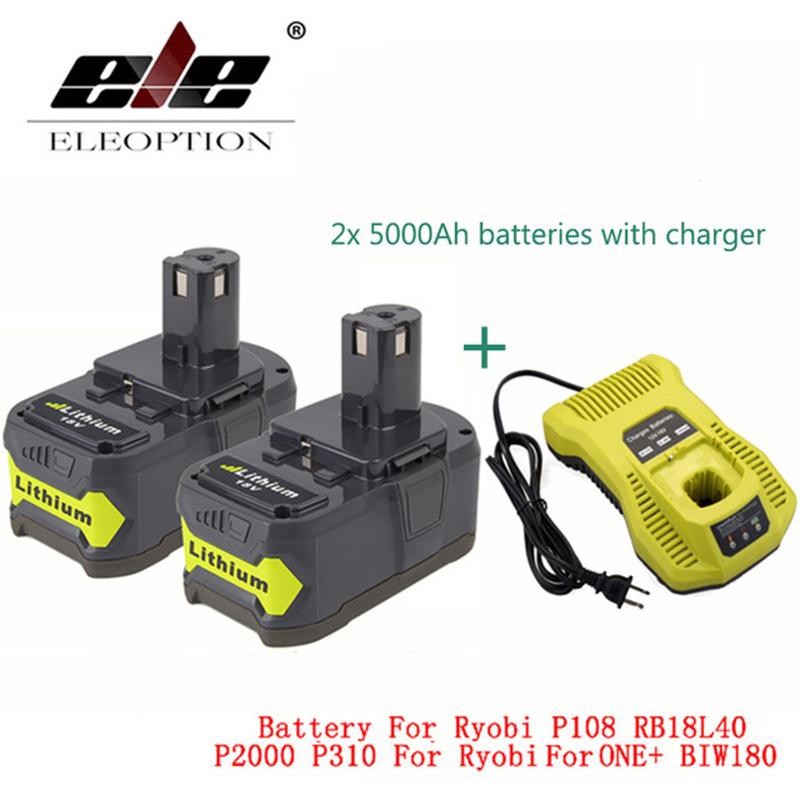 ELEOPTION 2x18 В 5000 мАч литий ионный Перезаряжаемые Батарея Ryobi 18 В Батарея и зарядное устройство P108 RB18L40 P2000 p310 для ONE + BIW180
