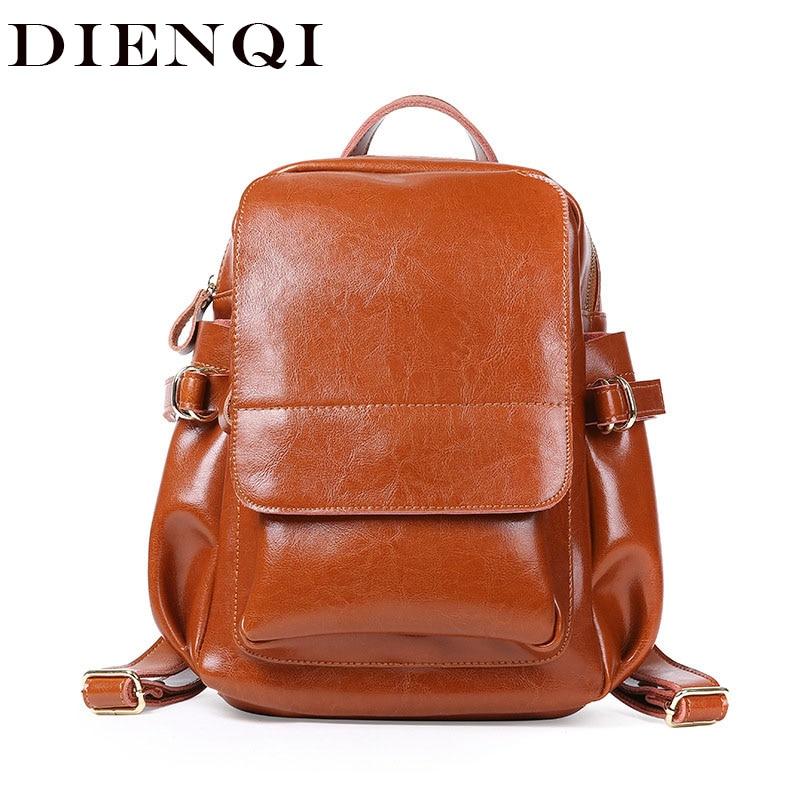 DIENQI Fashion women backpack female genuine leather backpacks for girls teenage schoolbag big backpack ladies shoulder