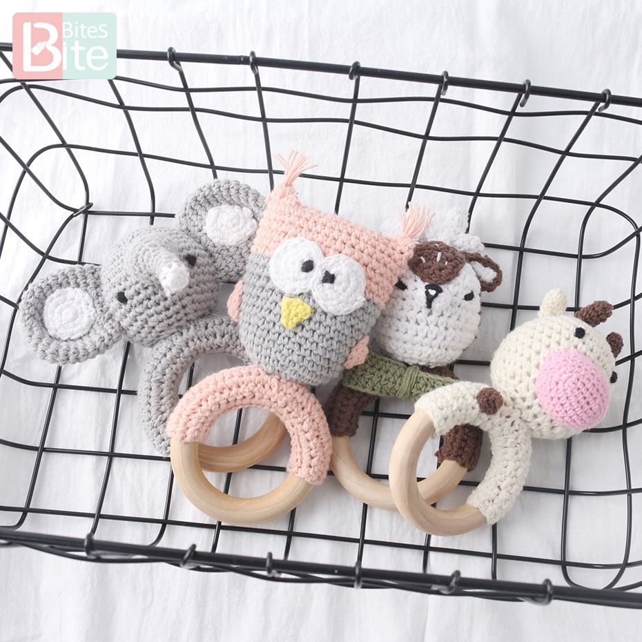 Bite Bites 1PC Baby Rattle Toys Amigurumi Intelligence Grasping Gums Hand Bell Rattle Funny Educational Toddler  Children's Toys