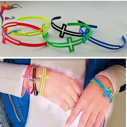 Jewelry 24pcs/Lot fashion Fluorescent Cross bangle neon 5 Color PUNK rock novelty metal alloy casual bracelet Jewerly