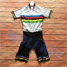 2020 rainbow Summer  Skinsuit Cycling Clothing one piece Bodysuit 3 back pockets Bike Clothing men women outdoor sportswear