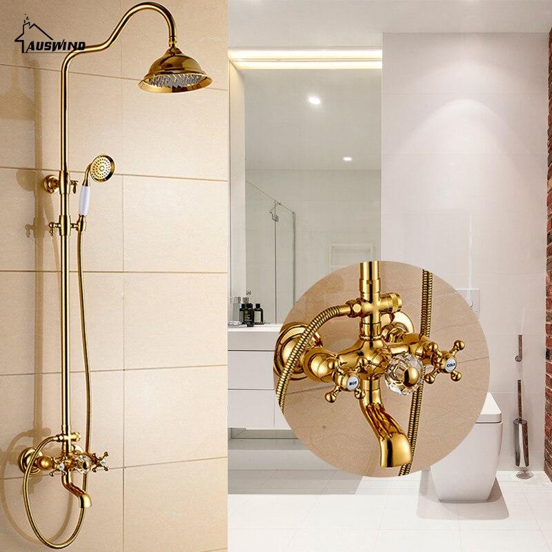 Antique Gold Brass Faucet Bathroom Shower Suit European Rain Head Retro Wall Mounted Shower Set Brass Bathroom Accessories Set