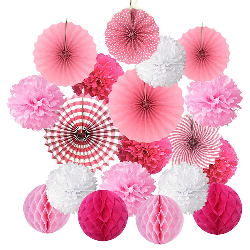 19pcs/set Paper Flower Honeycomb Balls Poms Paper Fans Hanging Paper Lanterns For Wedding Party Birthday Baby Shower Decor