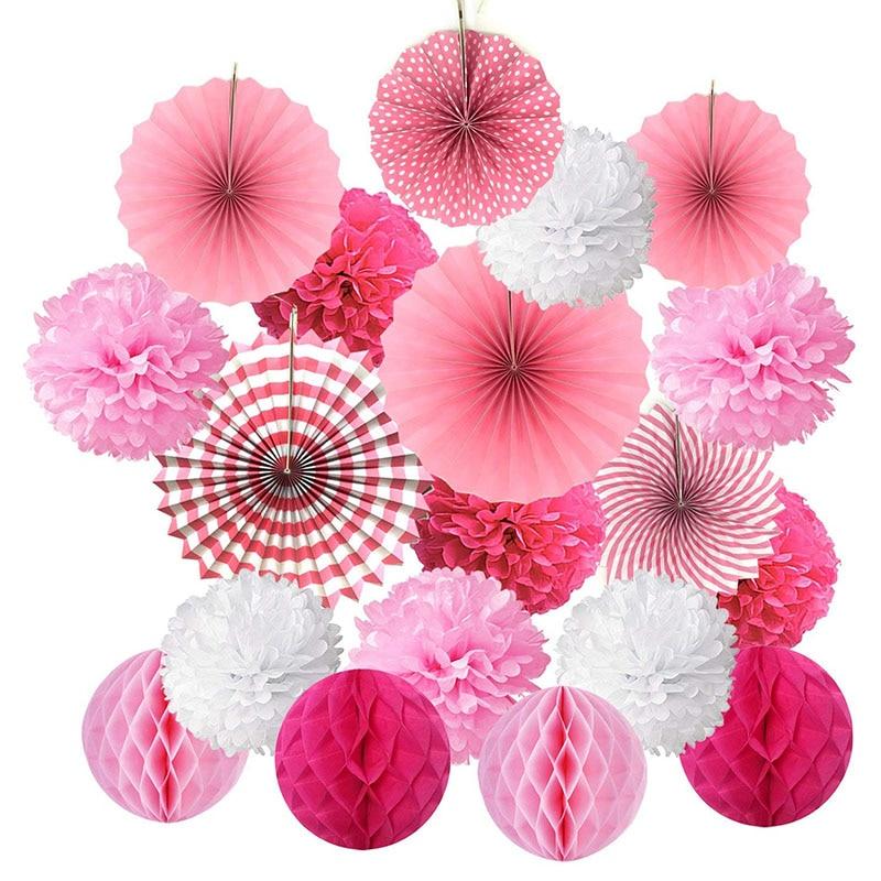 19pcs/set  Paper Flower Honeycomb Balls Poms Paper Fans Hanging Paper Lanterns  For Wedding Party Birthday Baby Shower Decor