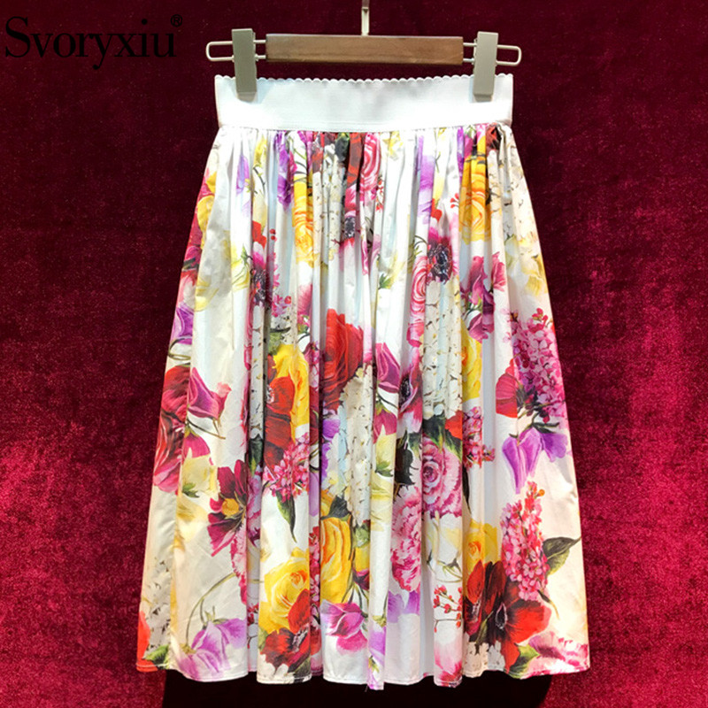 Svoryxiu 2019 New Runway High Quality Summer 100 Cotton Skirts Women s Elegant Flower Print Casual