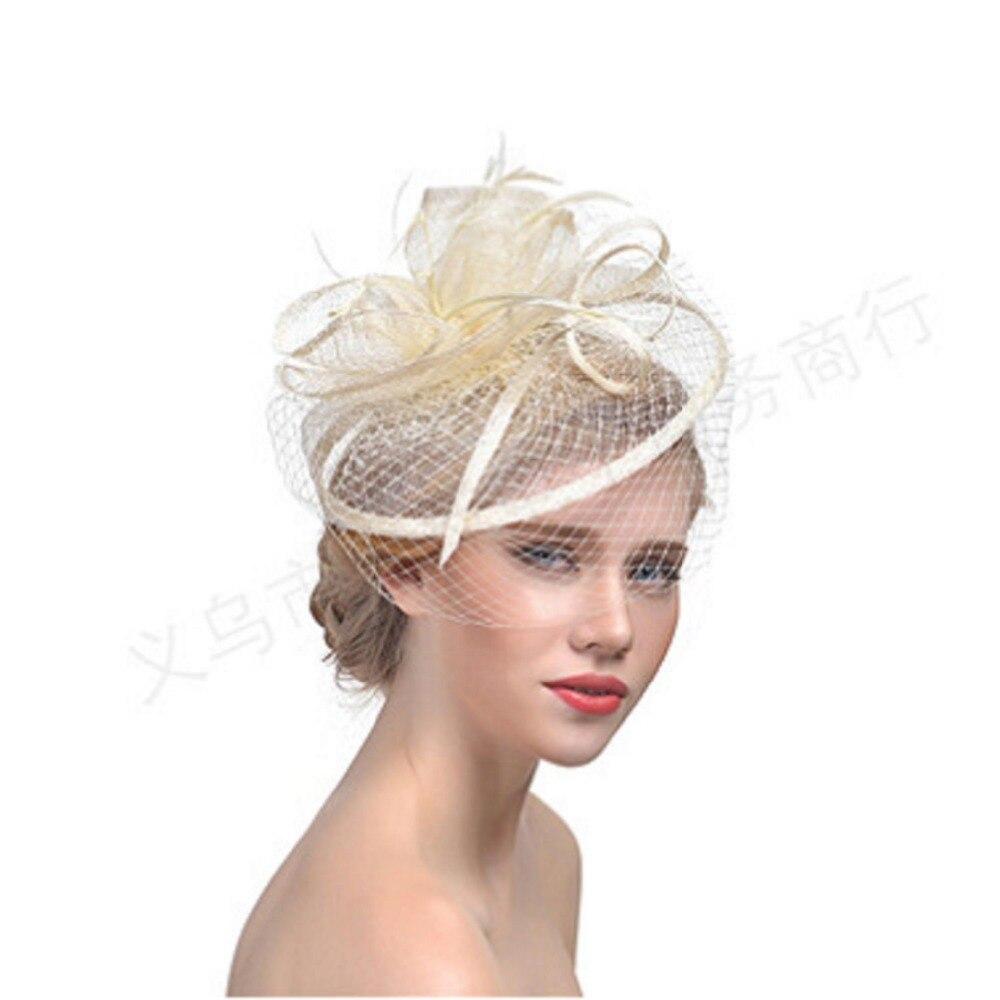 CHENLVXIE Natural Linen Ivory Wedding Bridal Hat Fine Garden Bridal ...