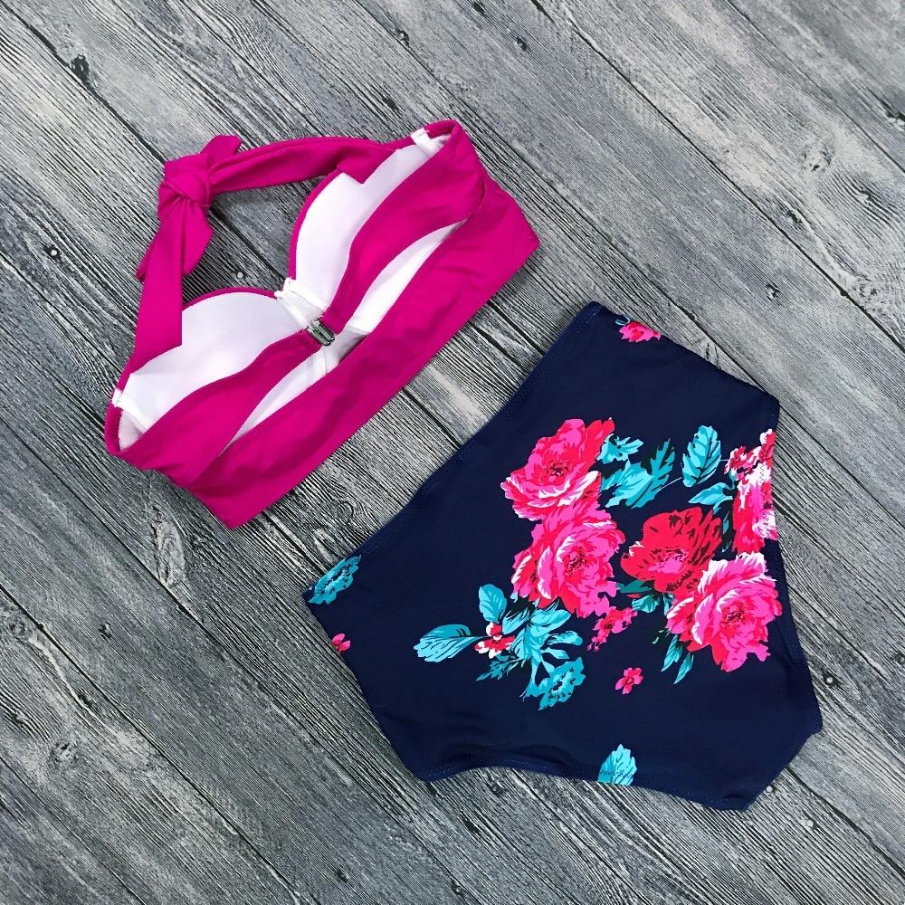 Push Up Women Swimsuit High Waist Bikinis Plus Size Swimwear Vintage Bikini Set Bathing Suits Retro Floral Beach Wear Biquini