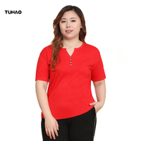 TUHAO 2019 Summer Women Blouse Short Sleeve Red Office Ladies Woman Shirts Plus Size 10XL 8XL 6XL Work Top Casul Female Tops