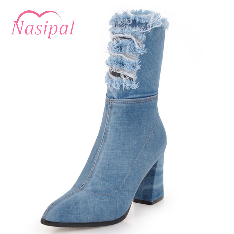 Nasipal Women's Denim Jeans Tassel Ripped Stilettos High Heels Half Boots Pointed Toe Shoes Autumn Winter Warm Zipper Plus Size