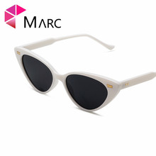 MARC Trendy Triangle Cats Eye sunglasses female personality eyewear trend Ocean color Transparent Fashion White Pink