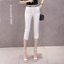 f777f3bfbd Delgada de verano Pantalones Slim coreano estilo Oficina pies pequeños  pantalones de traje negro blanco azul de las mujeres lápi.