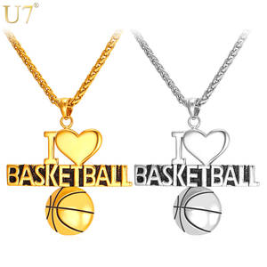 "U7 Heart Necklace For Men Jewelry Sporty Stainless Steel Gold Color Jewelry ""I Love Basketball"""