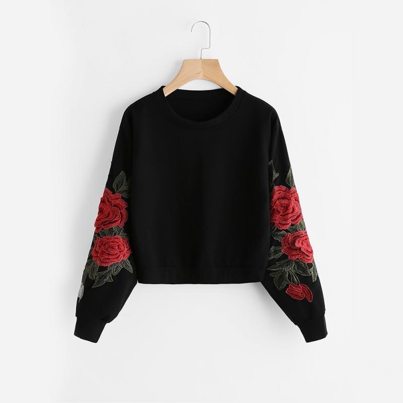 Women Oversized Hoodies Jumper Sweatshirt Female Pink Cropped Top Winter Harajuku Embroidery Flower Loose Pullover