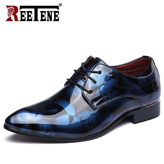 REETENE Floral Pattern Men Dress Shoes Men Formal Shoes Leather Fashion Groom Wedding Men Shoes Oxford Shoes For Men Zapatos De