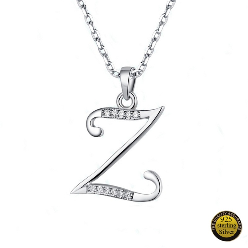 V.YA Solid Pure 925 Sterling Silver Pendants for Necklace Silver Letter S T U V W X Y Z Charms Letters Pendants for Women
