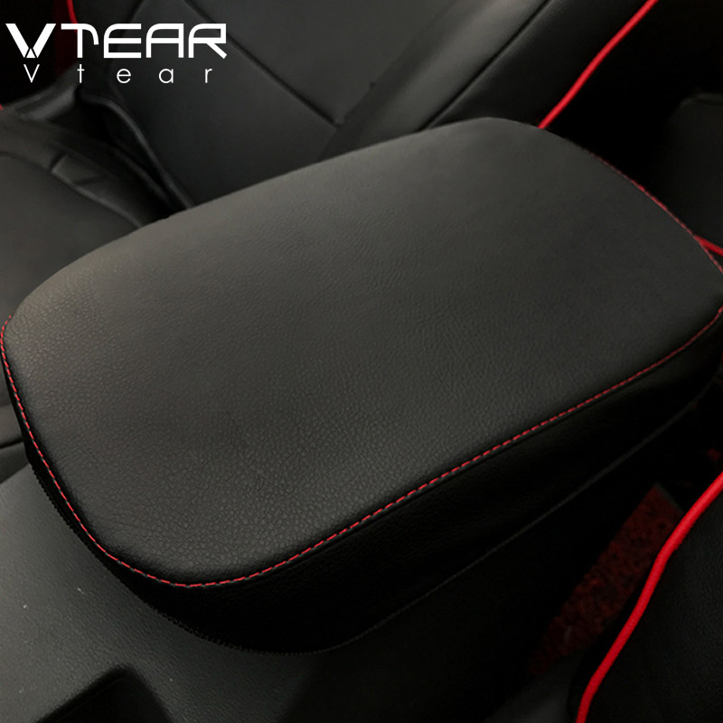 Vtear For Hyundai KONA Encino 2018 2019 Central Armrest Box Protection PU Leather Cover Interior Decoration Accessories