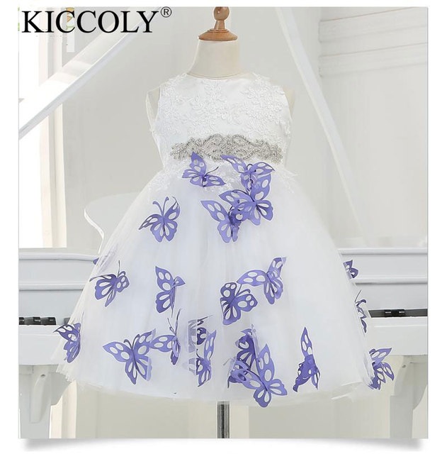 2016 New Arrival Girl Party Dress With 3d Purple Butterfly Tulle