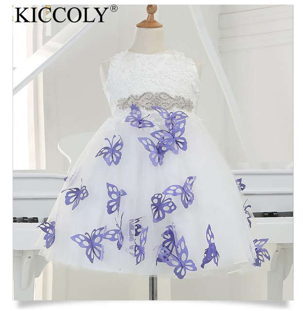 2016 New Arrival Girl Party Dress With 3D PurPle Butterfly Tulle Pretty  Flower Girl Dresses appliques 0802083448b