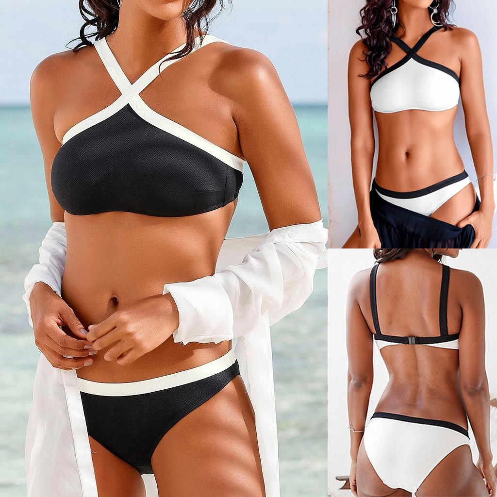 2019 Baru Ikatan Simpul Bikini Baju Renang Set Mandi Tombol Setelan Baju Renang Pakaian Renang untuk Wanita