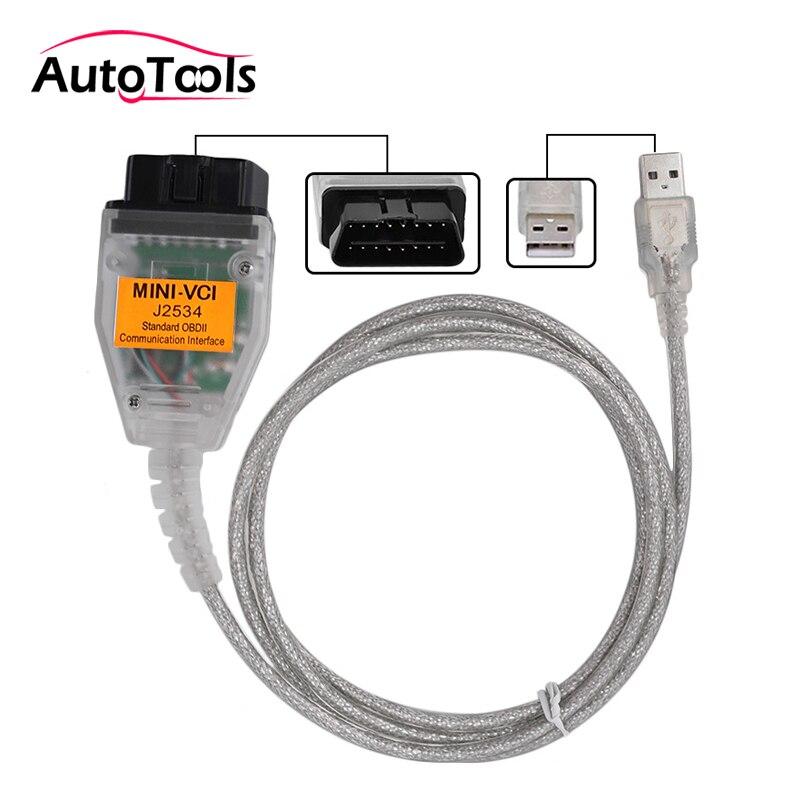 MINI VCI Interface V12.00.127 FOR TOYOTA TIS Techstream MINI-VCI J2534 OBD2 Diagnostic Cable via free shipping  tech 2 scanner for sale
