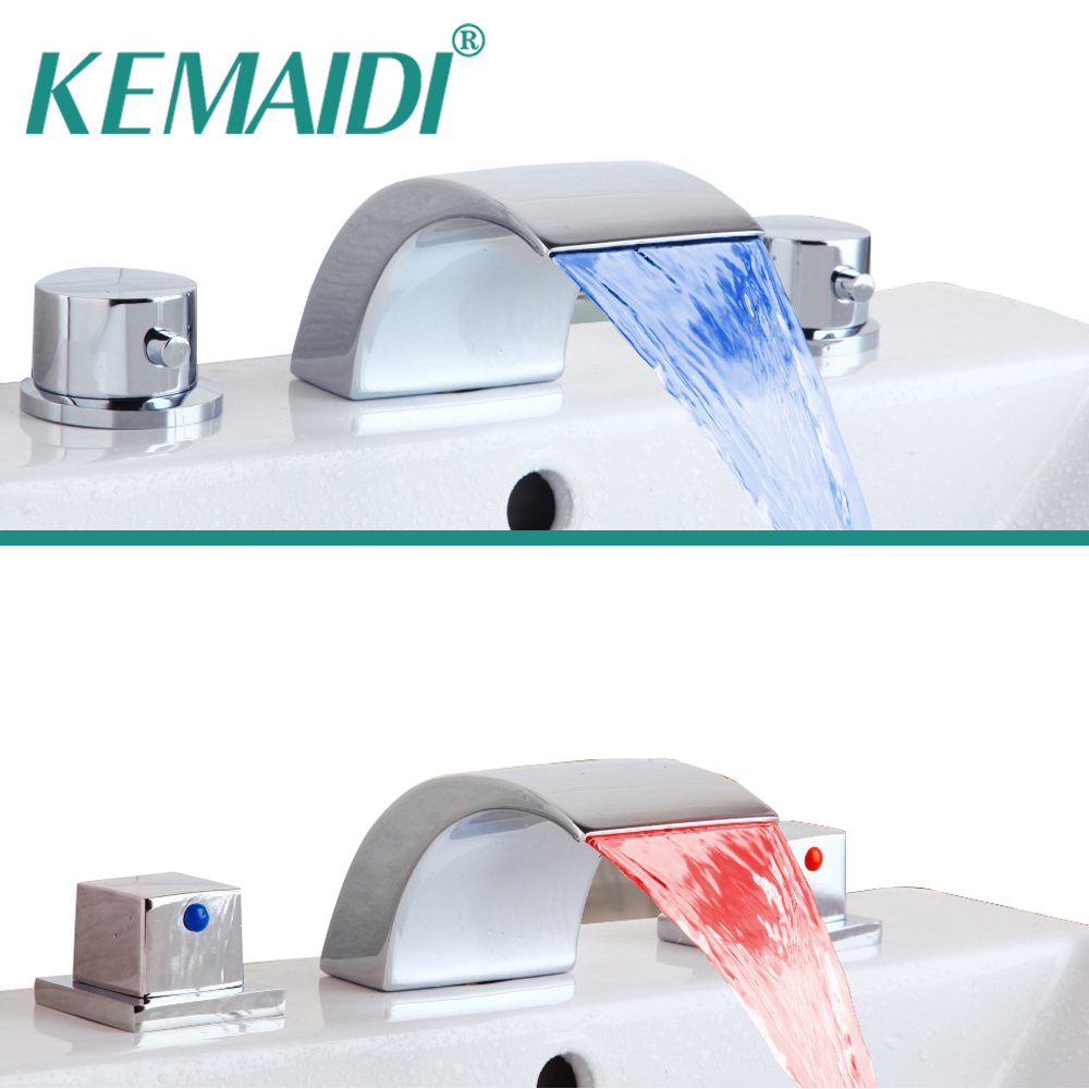 KEMAIDI Bathroom LED Basin Sink Faucet Waterfall Bathtub Faucet 3 PCS  Water Flow Lavatory Faucet Tap Chrome Finished Mixer free shipping polished chrome finish new wall mounted waterfall bathroom bathtub handheld shower tap mixer faucet yt 5333