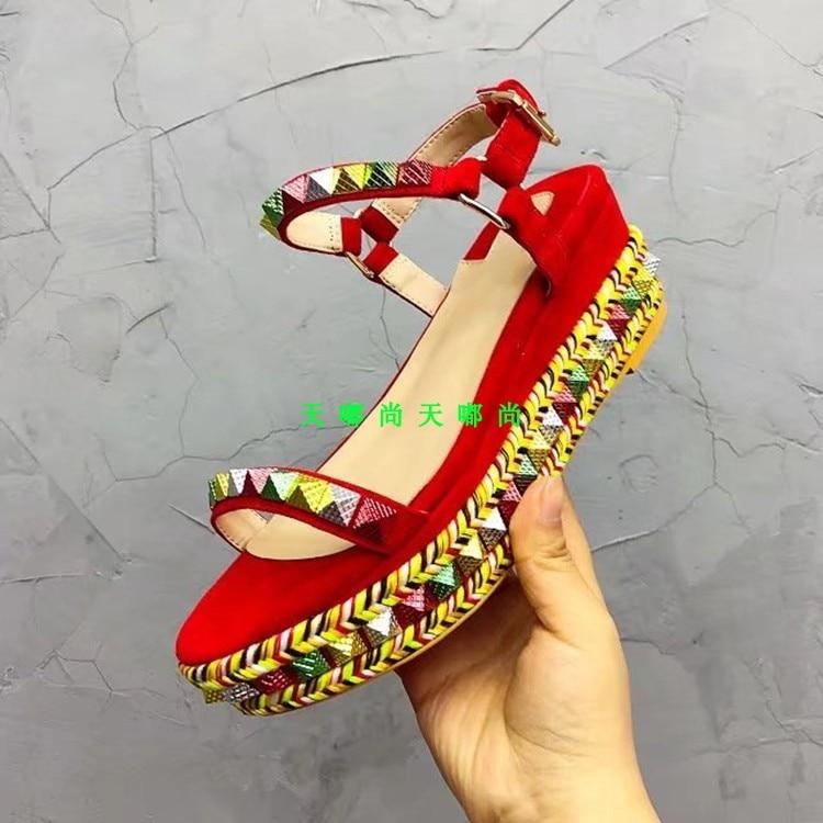 Rivets Femmes Embelli De Espadrilles En Date D'été Chaussures as Marque Pic Compensées Étoiles Plage Cuir 2019 As Plate Pic forme Sandales wA7qgny5qX