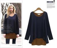 ZW227 Europe Irregular Women Tunic T Shirt False Two Piece Long Sleeve Slim Basic Women Tops