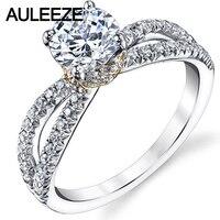 Уникальный 14 K из золота двух цветов Бесконечность кольцо хвостовика 1CT Moissanites искусственный бриллиант Обручение Кольцо из Белого Золота Ро