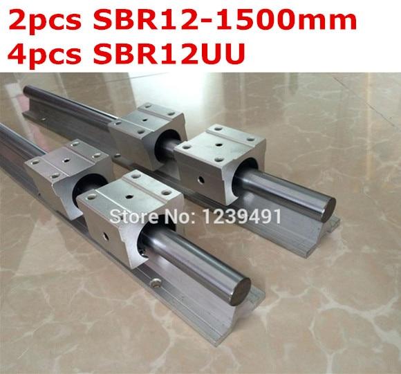 2pcs SBR12 - 1500mm linear guide + 4pcs SBR12UU block cnc router 2pcs sbr12 1500mm linear guide 4pcs sbr12uu block for cnc parts