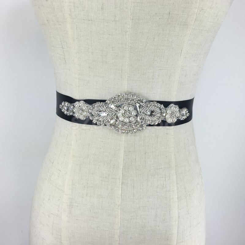 Flower Belts For Wedding Dresses: Fashion Black Crystal Rhinestone Flower Bride Wedding