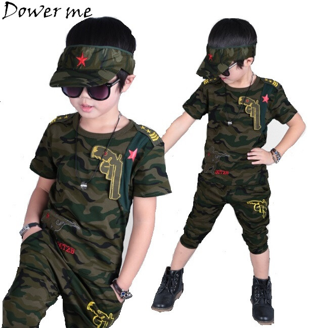 Baby Boys Summer Camouflage Set New Children Tracksuits Short-sleeved T-shirt Pants 2pcs Boy Clothing Suit Army Green Kids Sets