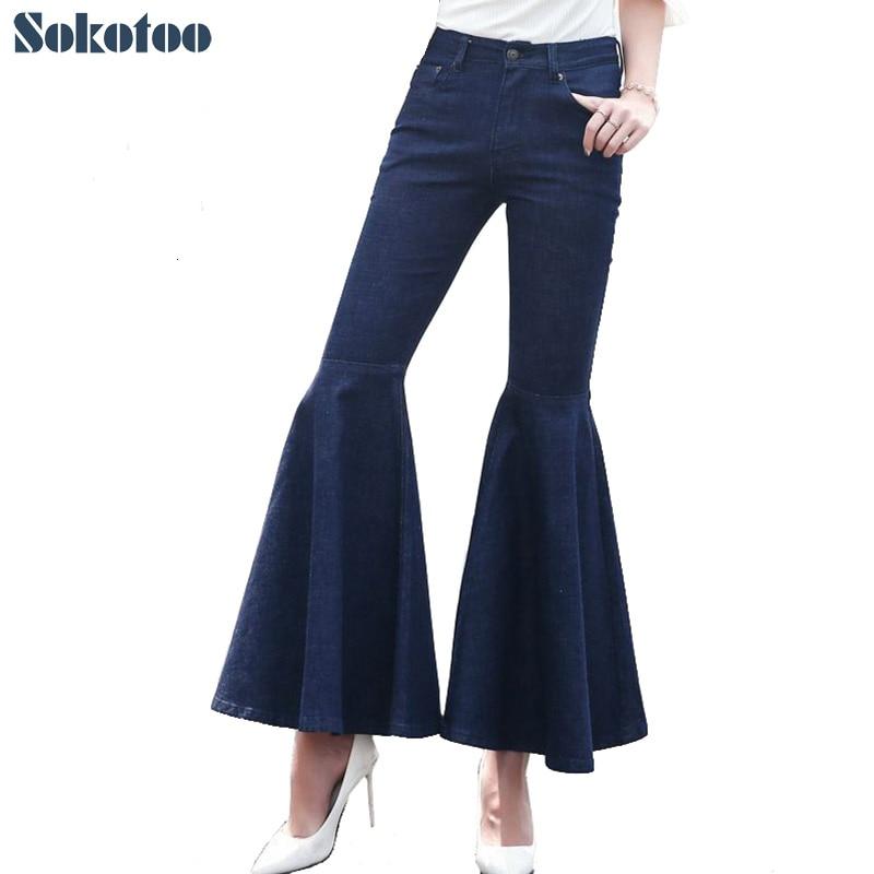 Sokotoo Women's dark blue fishtail flare pants Fashion high waist skinny wide leg denim jeans napapijri guji check dark blue