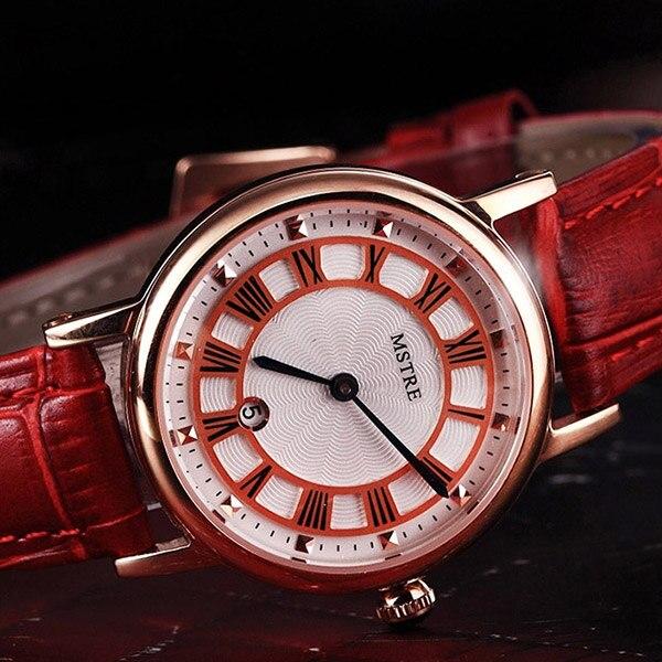 Nouvelle marque de luxe montres pour femmes rouge blanc rose bracelet en cuir de mode montres à Quartz pour dames décontracté montres de mode - 4