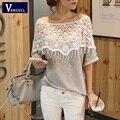 Las mujeres Camisa de Encaje 2016 Nueva Moda Hecha A Mano Del Ganchillo Del Cabo Collar Batwing Manga Marca Medio-largo Camiseta de la Rebeca Tops