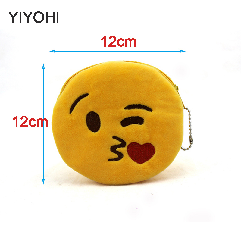 yiyohi 12cm*12cmCute Style Novelty Emoji Smile Zipper Plush Coin Purse Kawaii Children Bag Women Wallets Mini Change Pouch Bolsa simple design solid color special shape necklace for women