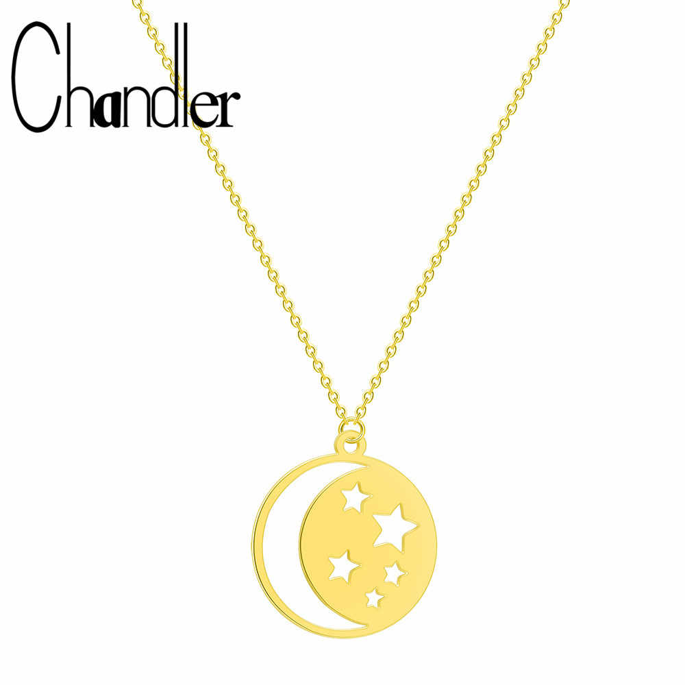 Chandler Crescent Moon Star Necklace Stainless Steel Jewelry Female Round Pendant Necklaces Women Boho Minimalist Thin Chain