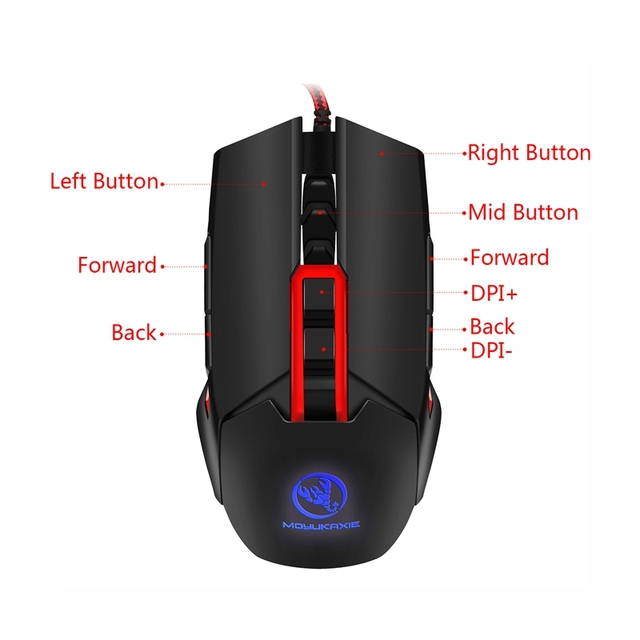 Adjustable DPI 3200DPI Wired Gaming Mouse Macro Programming 9 Buttons Left Right Hand USB Gamer Mouse for PC Laptop for LOL 1