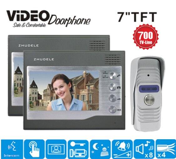 ZHUDELE 7 Video Intercom Video Door Phone Doorbell System 700TVL Camera Night Vision Home Security Intercom System doorbell 1v2