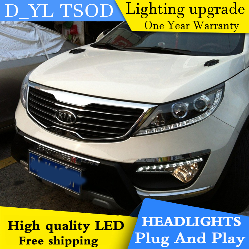 Car styling for Kia Sport LED Headlights 2011 2014 Headlamp assembly Turn lights DRL lens H7 HID xenon bi xenon lens Accessories - 3