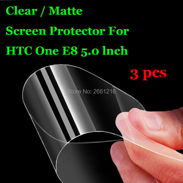 """3 Pcs/Lot New HD Clear / Anti-Glare Matte Front Screen Protector Touch Film Protection Skin For HTC One E8 5.0"""""""