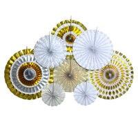 Goud/Zilver Glitter Rozetten Papier Fans Achtergrond Decor Klaslokaal Huwelijksvrijgezellenfeest Evenementen Feestartikelen Benodigdheden Pinwheel Fan