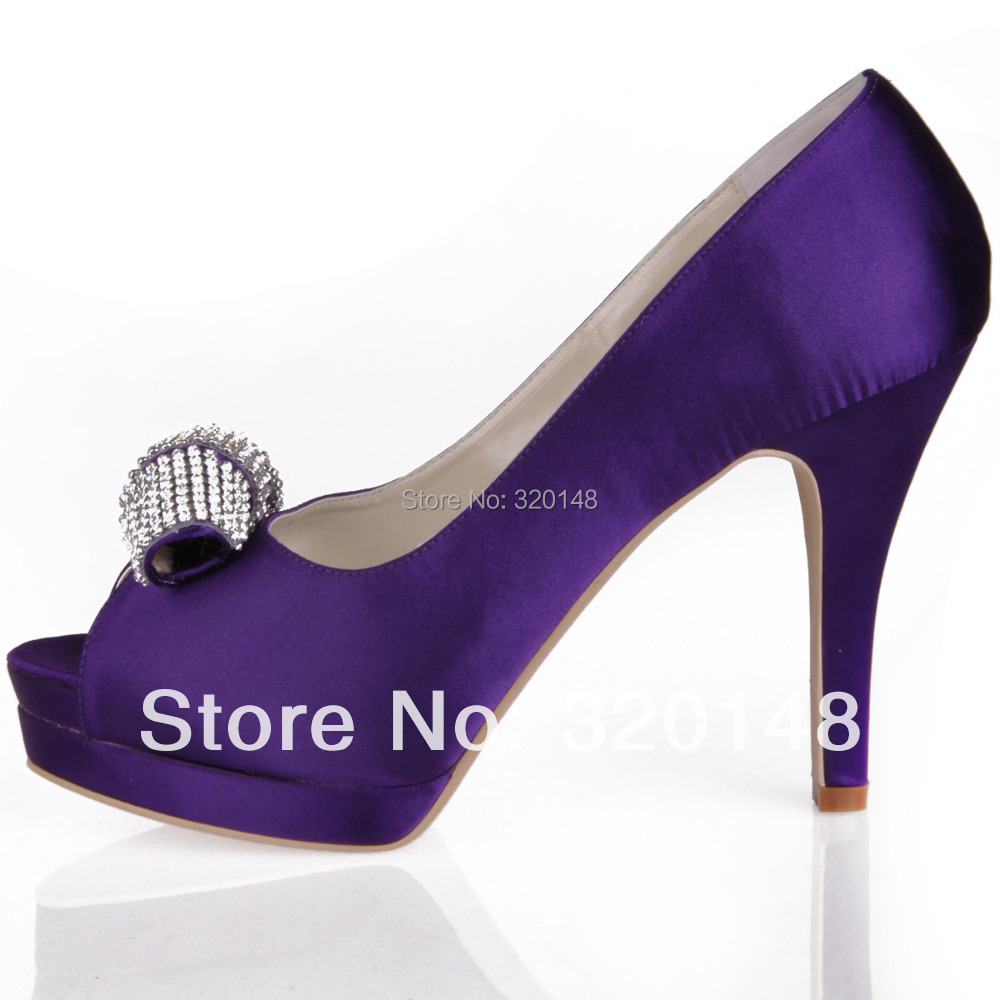Women Purple High Heel Peep Toe Rhinestone Platform Pumps Satin ...