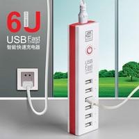 6 Port USB Hızlı Şarj AB/ABD AC Güç Adaptörü Taşınabilir Cep Telefonu duvar Şarj iPhone 8 8 Için 5 V 6A artı X Samsung Xiaomi