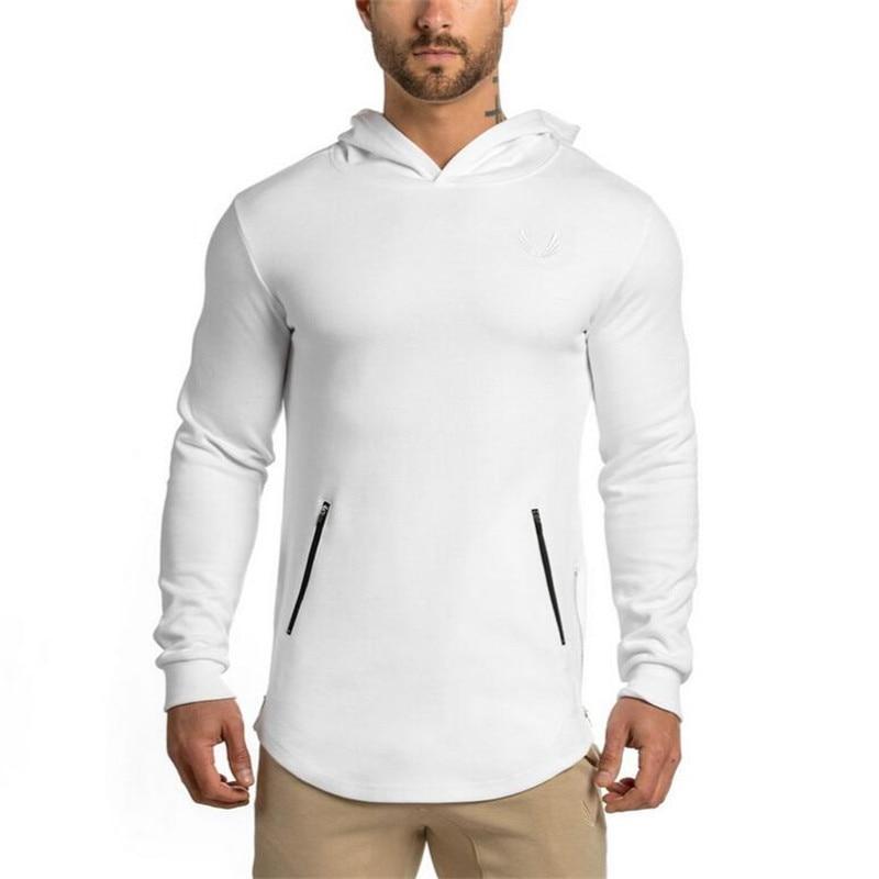 Longues Ardoisé Sweat Capuche Gym Coton Crossfit À Shirt Hommes Manches Chemises Top kaki Sec New Fit blanc Sport Fitness wvq0gXXa