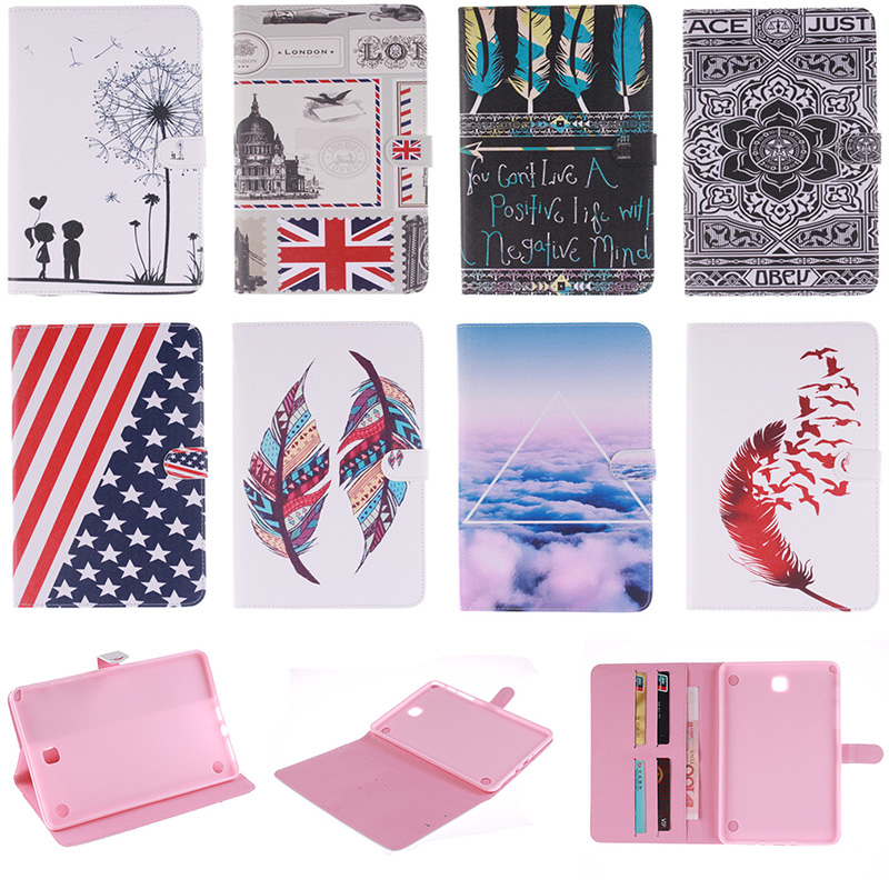 Fashion Feather Lotus Cloud Pattern PU Leather Flip Wallet Case For Samsung Galaxy Tab A 8.0 T350 SM-T350 Back Cover Coque Funda