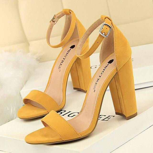 BIGTREE buty gorące wysokie obcasy nowe kobiety pompy klamra kobiet buty Party kobiety obcasy buty ślubne blok obcasy buty damskie 9.5 Cm